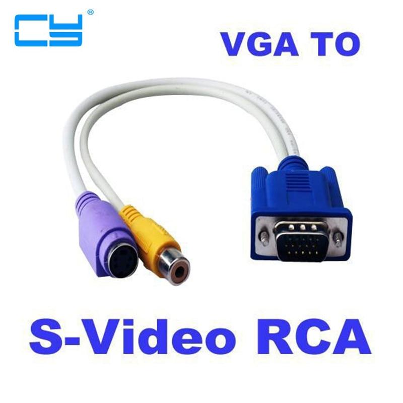 Adaptador VGA para vídeo RCA S, convertidor de 15 pines AV, 5 piezas, 30 cm, 1 pie