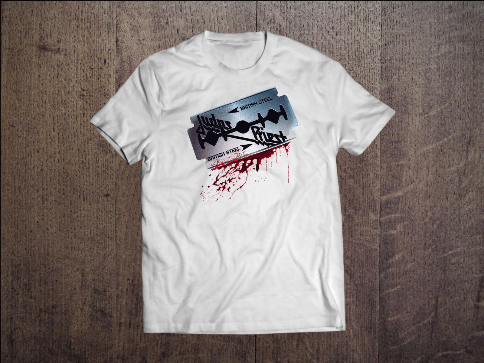 Camiseta blanca de hombre de acero británico Judas Priest, camiseta de heavy metal con estampado de S-XXL de tamaño, camisetas de estilo veraniego para hombres