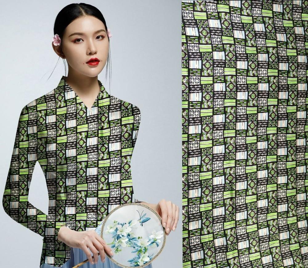 Moda 2018, tejido súper elástico para mujer, tela de seda de mora 97% para costura, Material para blusa, vestido, flores, telas estampadas