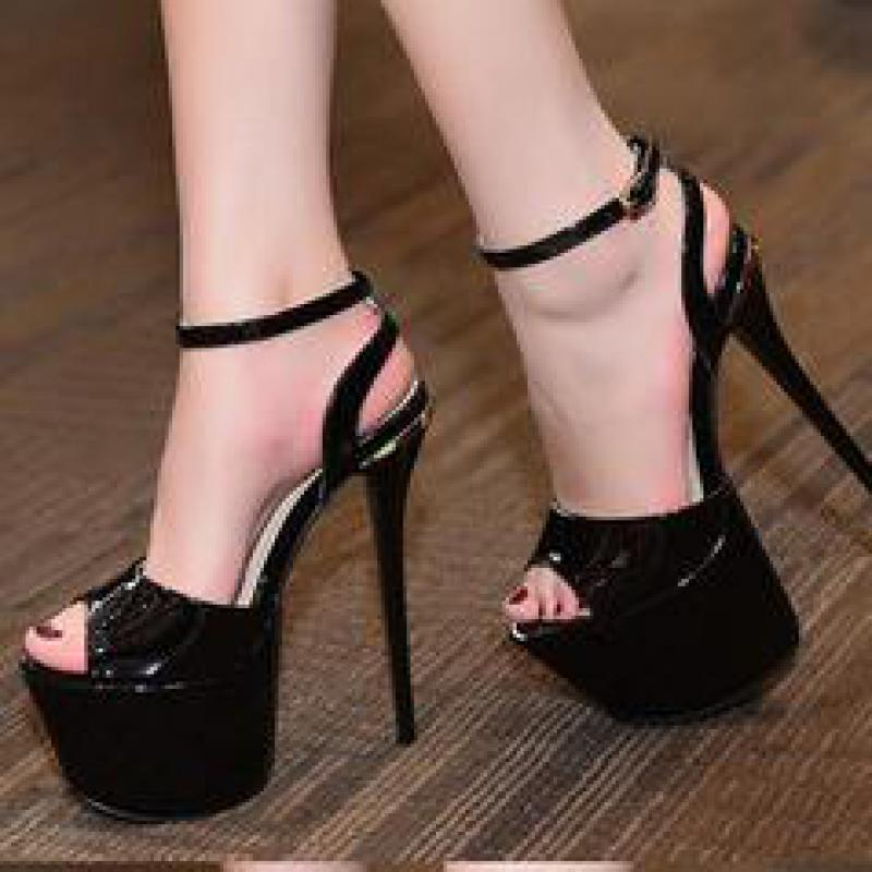 Odinokov bride à la cheville talons hauts Peep Toe Party chaussures boucle sangle 17 cm talons hauts plate-forme rouge Slingbacks dames chaussures de marque