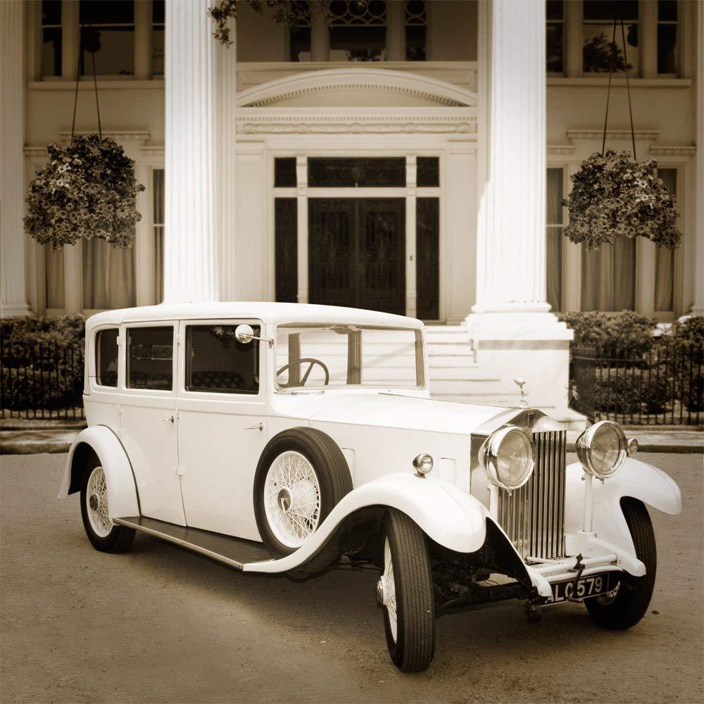 Gatsby sepia viejo vintage coche Palacio columna de fondo de alta calidad de impresión de ordenador telón de fondo de boda