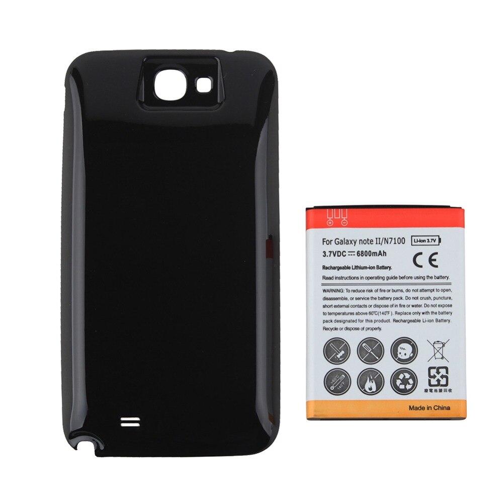 Высокая емкость 6500 мАч запасная расширенная батарея телефона + Черная задняя крышка для Samsung Galaxy Note II Note 2 N7100