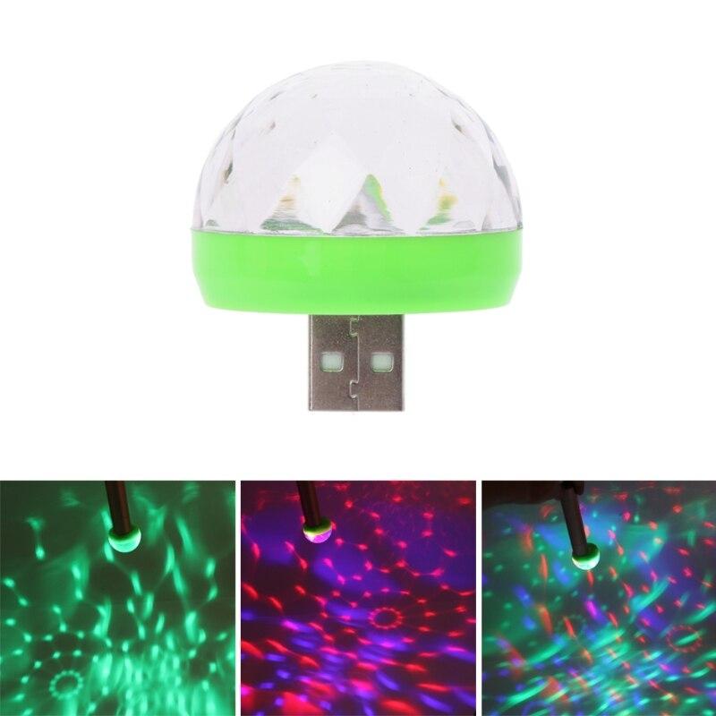 Led USB Car Ambient Light 5V RGB Super Mini Romantic 3W Holiday Lights DJ Color Changing Sound Actived Crystal Magic