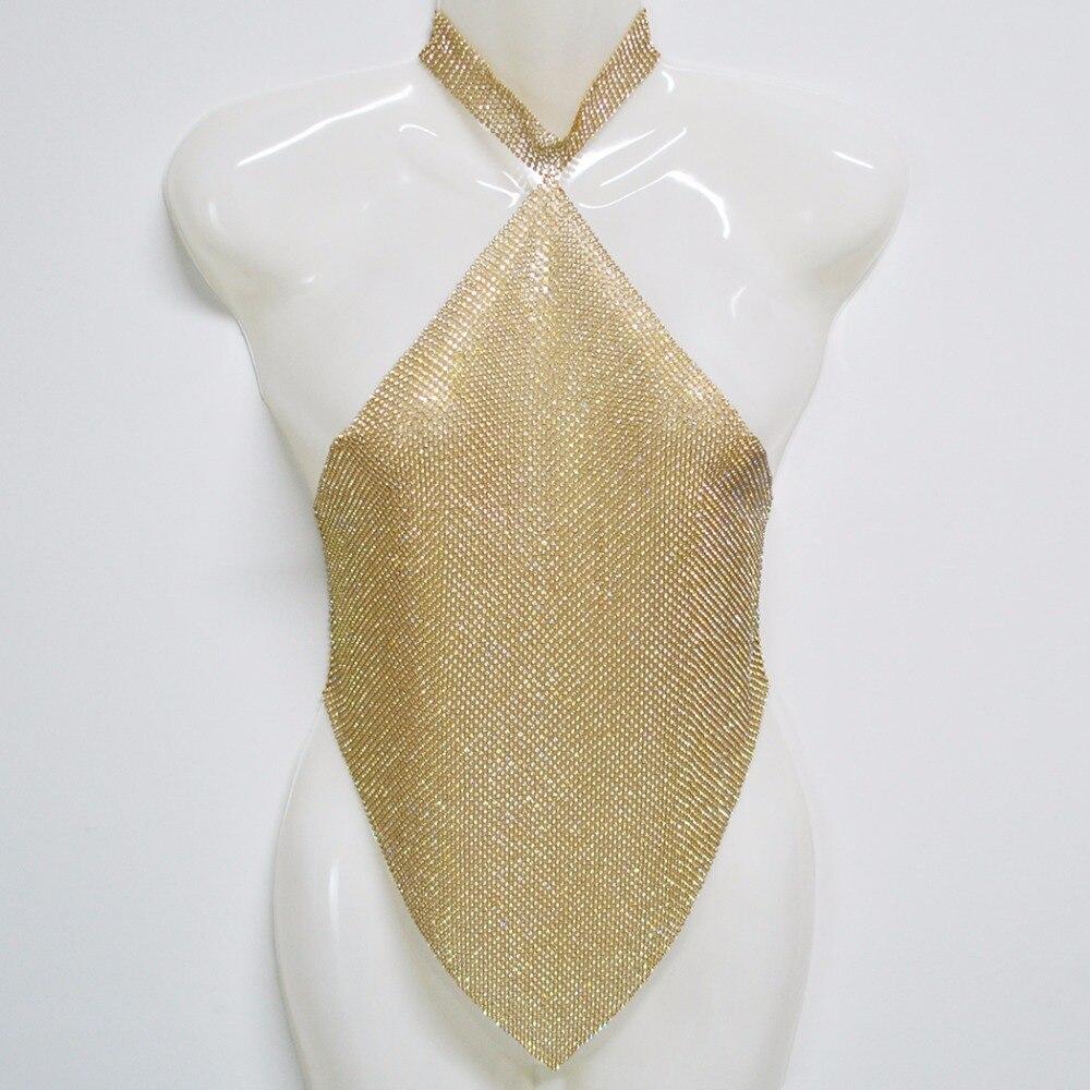 Sexy Beach Metallic Bra Bikini Armor Waist Body Chain Bling Rhinestone Mesh Chainmail Backless Crop Top Halter Necklace Jewelry