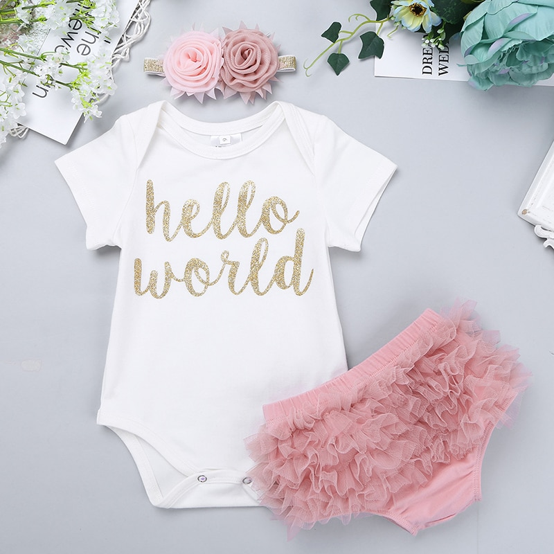 Комплект детской одежды из 3 предметов для девочек с надписью «Hello World», комбинезон с короткими рукавами и Шароварами, повязка на голову, комплект для новорожденных, для фотосъемки и вечеринки