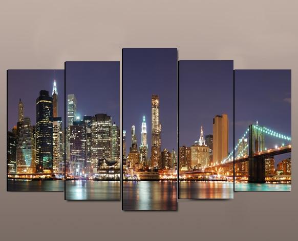 2017 hermosas Luces de ciudad ver 5 paneles decoración de pared del hogar arte pintura impresiones Manhattan Puente de Brooklyn obra de arte sin marco