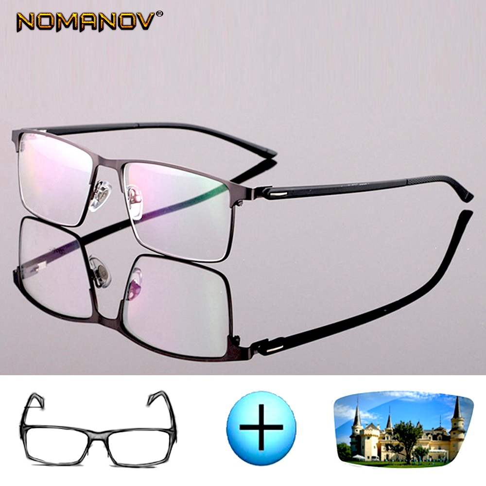 Custom made optical prescription glasses photochromic Classic large Titanium alloy full-rim frame my