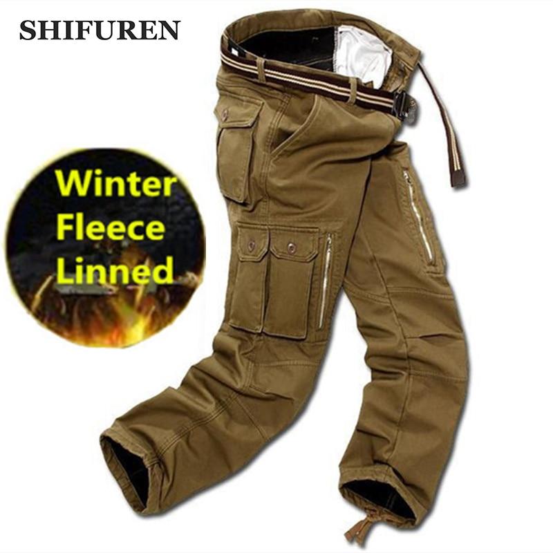 Мужские зимние брюки-карго SHIFUREN, двухслойные утепленные флисовые повседневные мешковатые тактические брюки без пояса