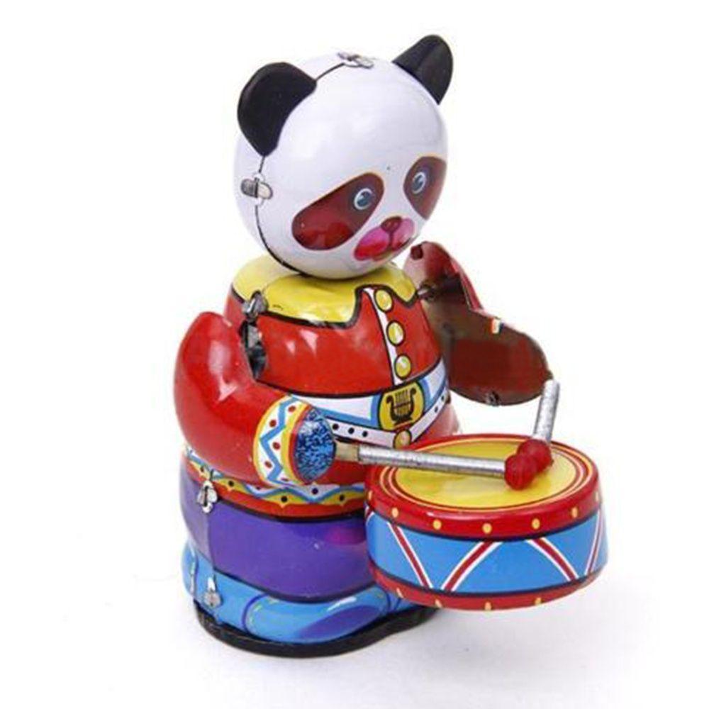 Moda Popular Novo Collectible Presente Bonito Do Vintage Estilo Retro Tin Clockwork Wind Up Modelo Panda Baterista Brinquedos para As Crianças/ adultos