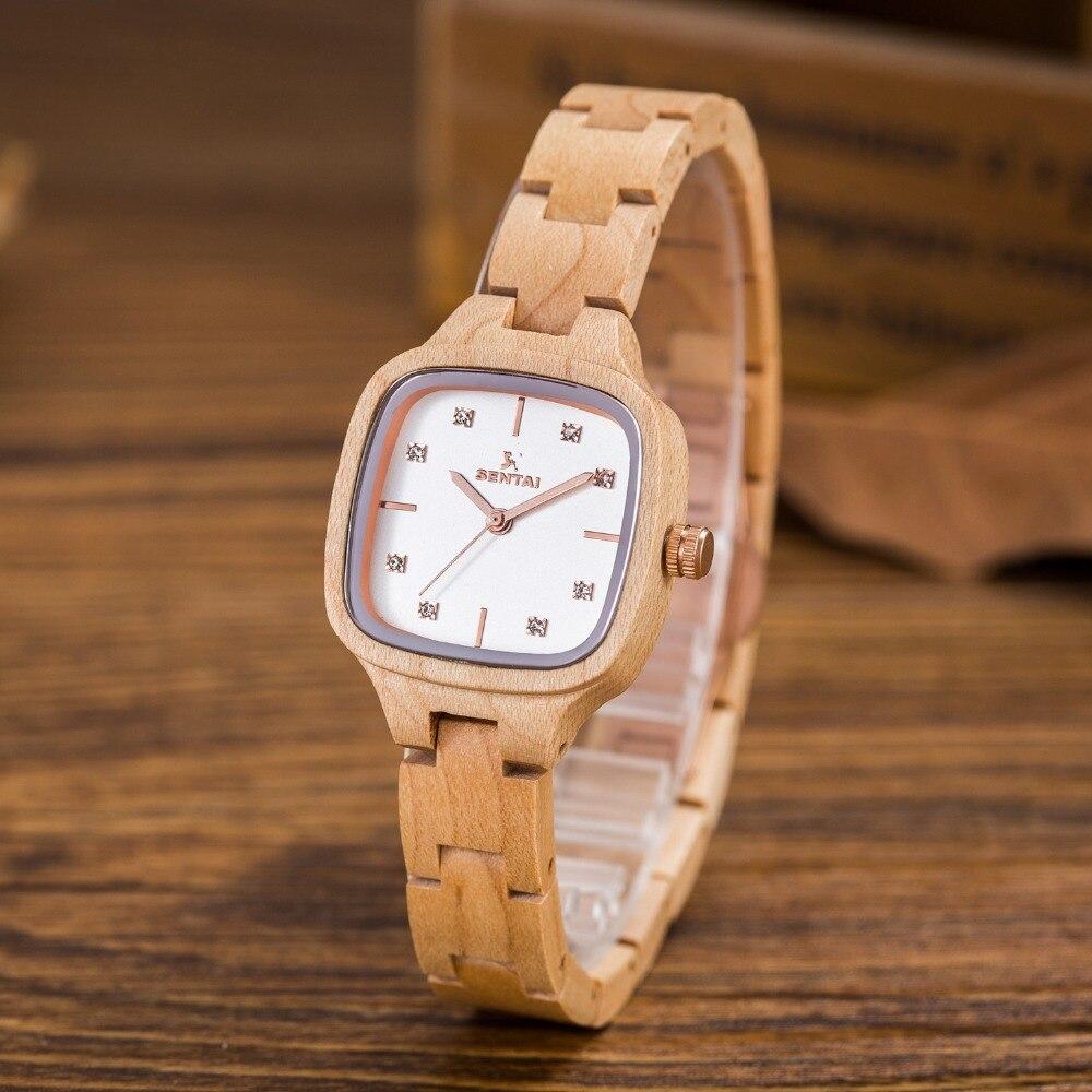 Quente da Moda Relógio de Quartzo para Mulheres do Vintage Relógios de Pulso de Madeira Venda Mulheres Relógios Preto Sandal Wood Assista Marca Senhora Casual