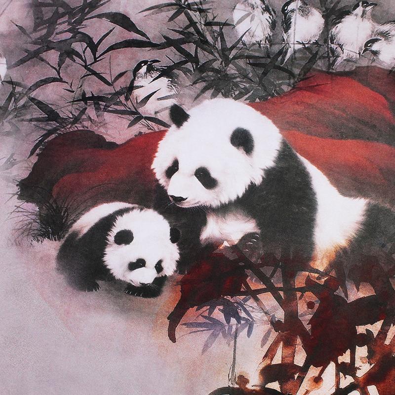 12momme 114cm de ancho estilo chino oso Panda impreso 100% crepé de seda vestido ropa tela accesorios para prendas de vestir