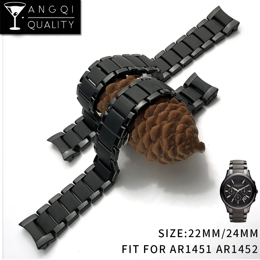 22mm 24mm Ceramic Mix Steel for AR1451 AR1452 Watch Band for AR Watches Wrist Strap Brand Watchband