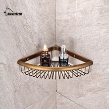Antyczny mosiądz półka narożna szczotkowany brąz kosz ceramiczny przechowywanie/półki łazienkowe akcesoria łazienkowe produkty