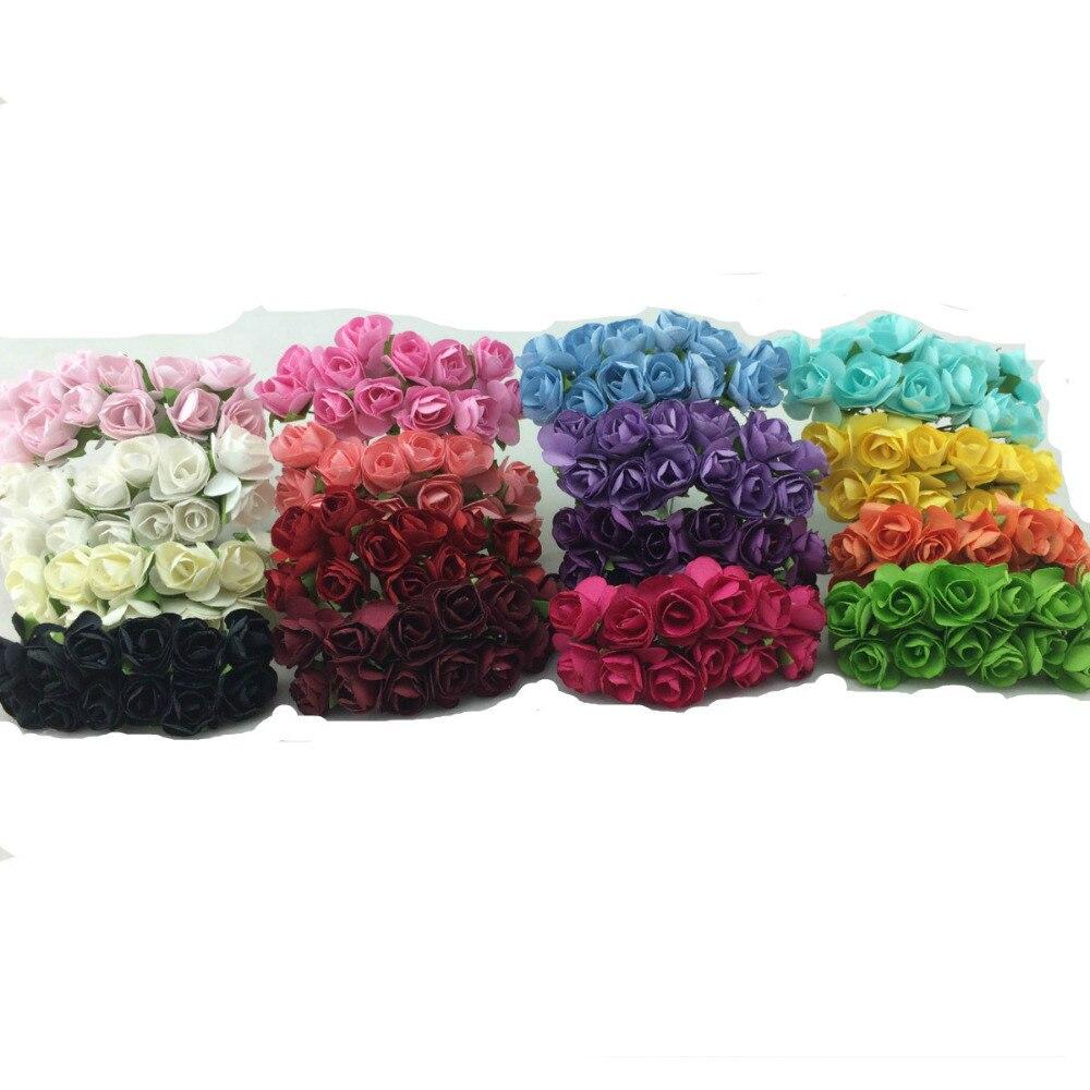 144 adet/grup El Yapımı dut kağıdı Çiçek Buketi/tel kök/Scrapbooking yapay Mini gül çiçek düğün parti Dekor