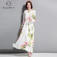 seqinyy printed dress 2018 early autmn new flowers long sleeve loose high quality a line white women long dress elegant