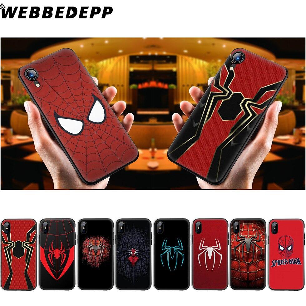 WEBBEDEPP Мягкий силиконовый чехол с логотипом Человека-паука для iPhone 11 Pro Xr Xs Max X или 10 8 7 6 6S Plus 5 5S SE Case 8 Plus