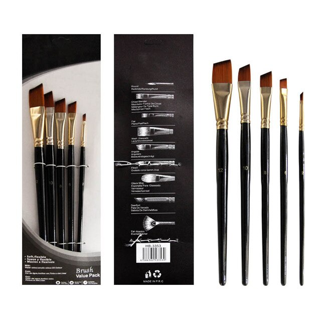 Artist Paint Brush Set 5Pcs High Quality Nylon Hair Wood Black Handle Watercolor Acrylic Oil Brush Painting Art Supplies 8