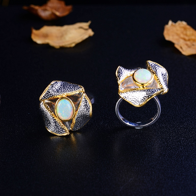 Vintage Thai Silver Style Flower Ring Italian Gold Craft S925 Sterling Silver Inlaid Natural Australian Gem Open Ended Ring