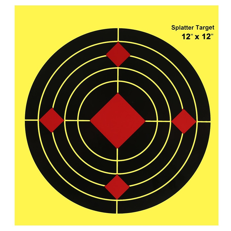 Objetivo de disparo de 12 pulgadas, papel reactivo, salpicaduras, Blanco fluorescente, amarillo, para pistola de impacto, Rifle, pistola de aire, pistola suave BB