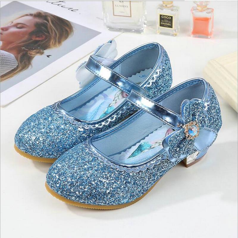Venta caliente princesa niñas sandalias niños PU zapatos de cuero para niñas Zapatos de vestir tacón alto brillo Primavera Verano fiesta boda zapatos