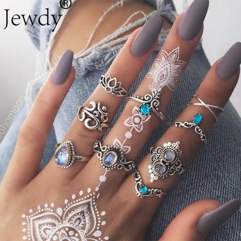 Jewdy 9 unids/set de moda mujer loto hueco gota de agua Om corona gema cristal geometría Junta anillo encanto anillo Set