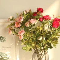 6 colors 5 heads tea rose artificial flower wedding silk flowers for home wedding decoration party fake flower