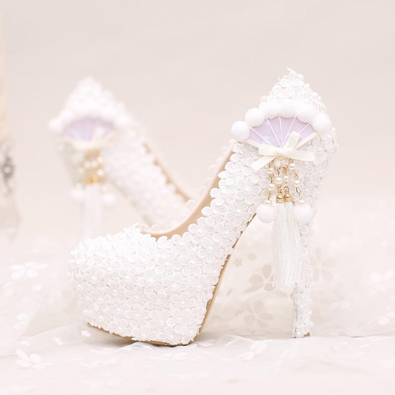 2017 sweet tassel flower bridal shoes woman ultra high heels platfrom crystal women pumps for wedding party dress shoes woman fr