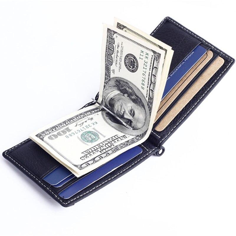 Couro genuíno Fino grampo do dinheiro carteira dos homens para homens bolsa com bolso de moedas id slots de cartão de crédito homem do dinheiro do saco preto café