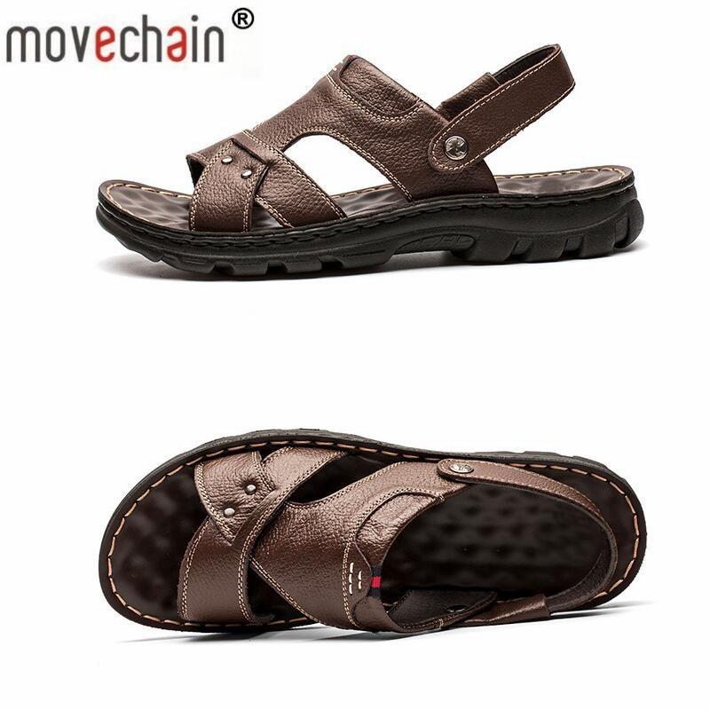 Movechain, zapatillas de playa de verano de ocio para hombres, sandalias de gladiador de moda para hombres, zapatos antideslizantes, zapatos planos tallas EU 38-48