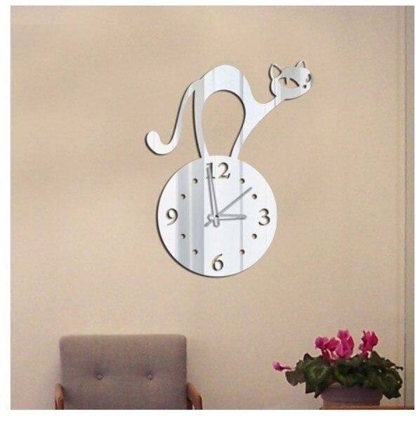 Reloj espejo de pared de gato encantador, reloj de pared acrílico 3D pegatina espejo diy acrílico espejo aguja pegatinas Diseño Seguro Decoración