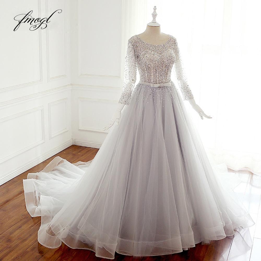 Fmogl Vestido De Noiva Long Sleeve A Line Wedding Dress 2019 Sexy Backless Beaded Sequined Princess Bridal Gown Plus Size