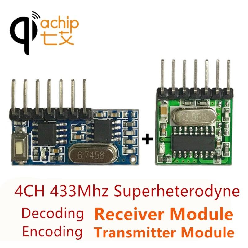 QIACHIP 433mhz transmisor de codificación de amplio voltaje inalámbrico receptor decodificador 4 CH Módulo de salida para 433,92 Mhz control remoto DIY