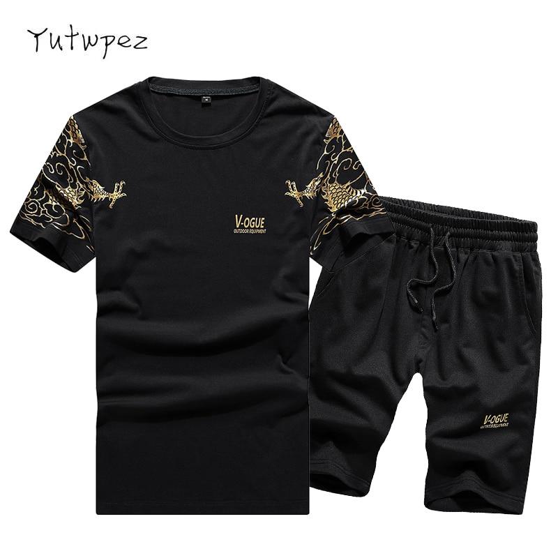 Europe Size Tracksuit Men Sets Pants Summer Men's Cropped T Shirt Shorts Casual Suits Sportswear Mens Clothing Male Sweatshirt