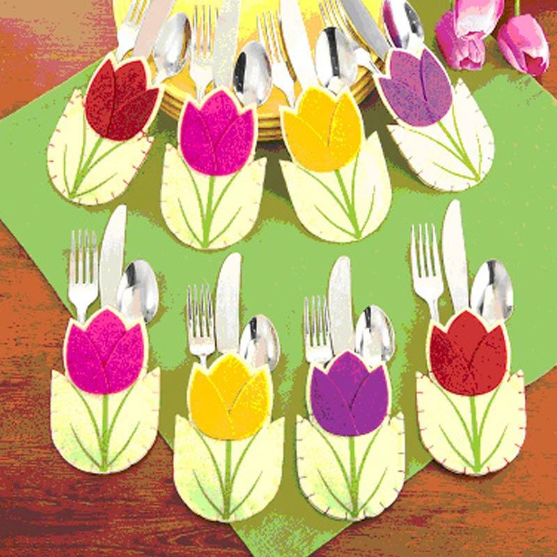 8 шт., новый мешочек для столовых приборов в форме цветка, держатель для столовых приборов, сумка для ножа, вилки, сумки, чехлы, Мультяшные столовые приборы, пасхальные украшения для дома