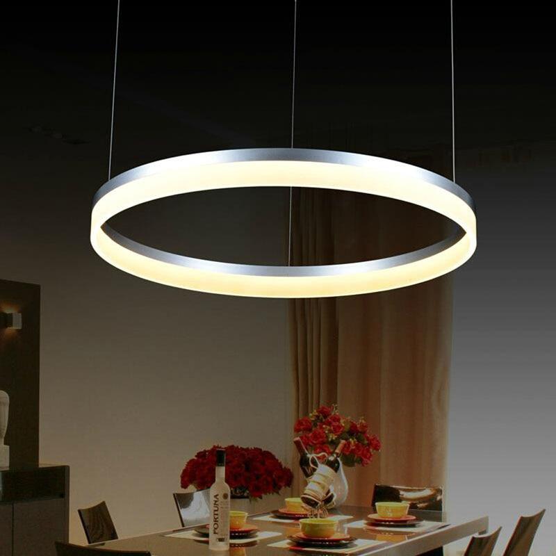 Modern LED living dining room pendant lights suspension luminaire suspendu led ring lighting lamp fixture de techo colgante  - buy with discount