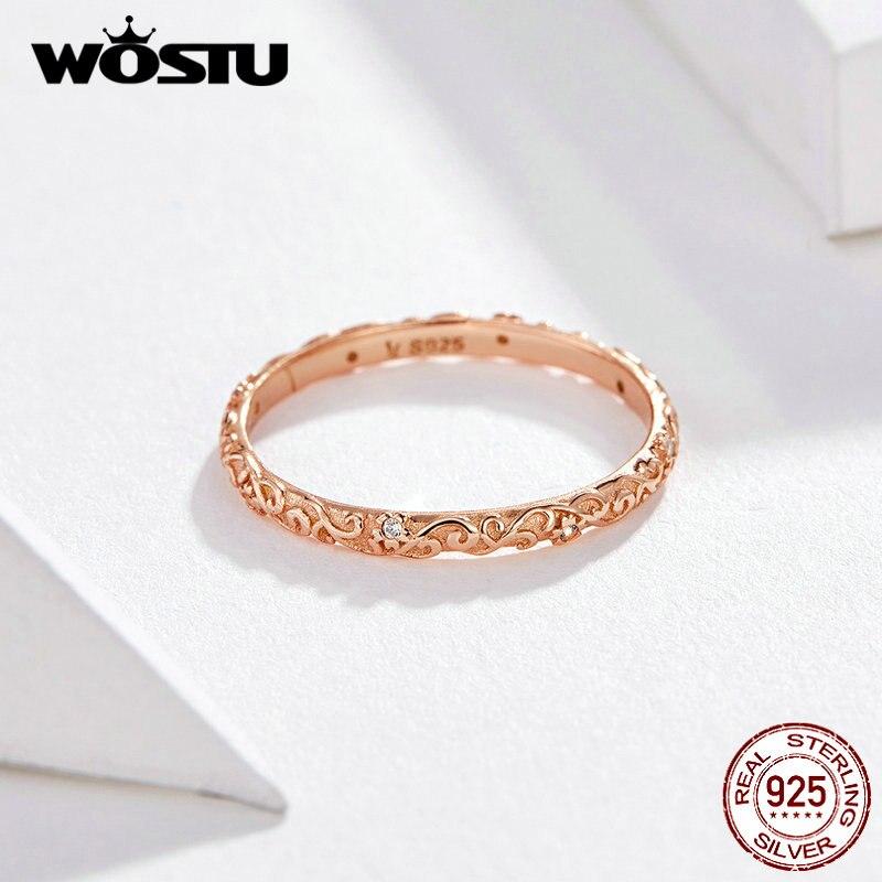 Anillo minimalista de oro rosa 925 de WOSTU, anillos delicados de estilo coreano de plata de ley para mujer, joyería de moda de boda FIR514