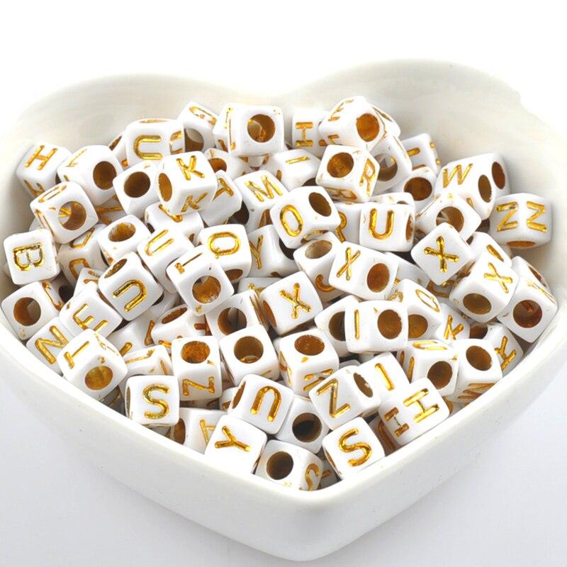 Квадратные акриловые шарики с алфавитом и буквами, 200 шт., смешанный белый и золотой бисер для изготовления ювелирных изделий, 6x6 мм, YKL0569X