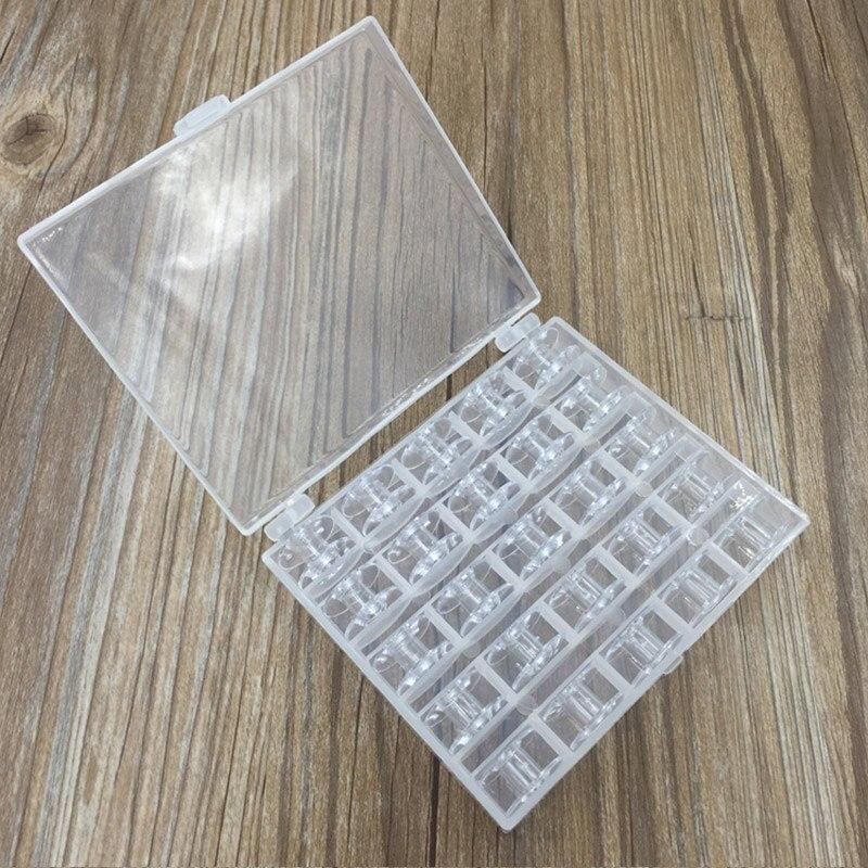 25 шт. коробка для хранения, цветные прозрачные пластиковые пустые катушки для швейных машин, ручные аксессуары, швейные инструменты