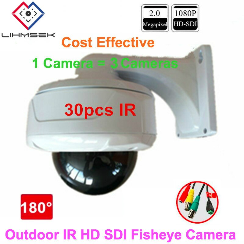 Lihmsek 1080P Full HD Panoramic HD SDI Camera 180 Degree Fisheye CCTV Camera 2.0 Mega Pixels HD-SDI Vandalproof Dome camera