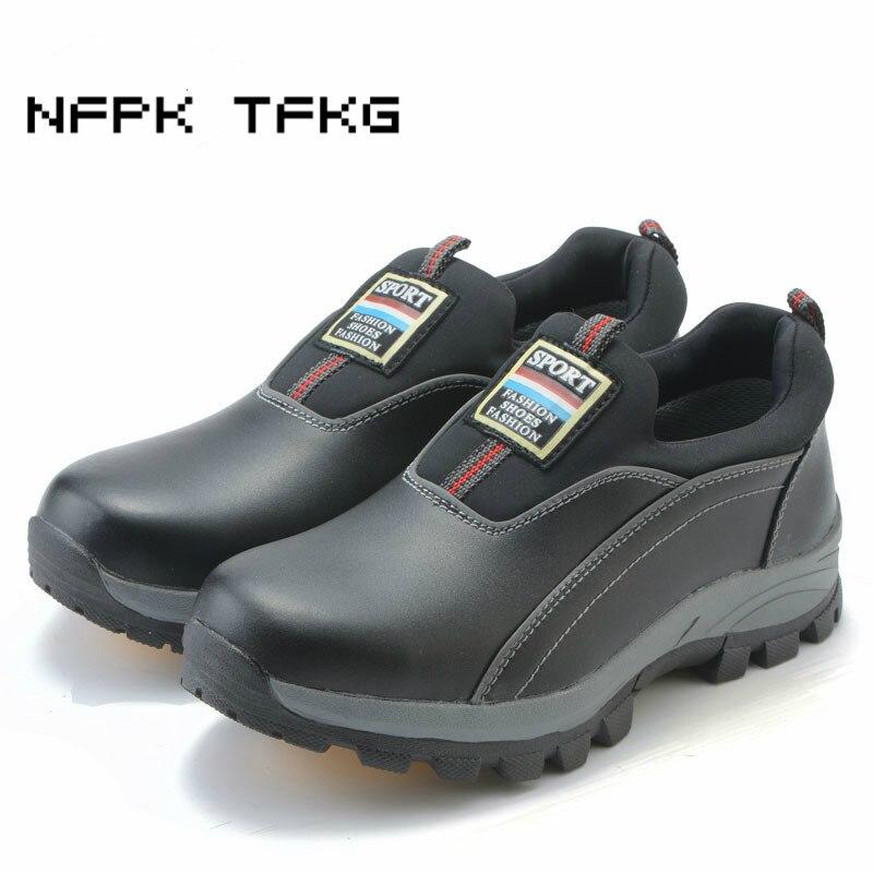 Мужские модные защитные ботинки со стальным мысом, рабочие ботинки из натуральной кожи без шнуровки с защитой от проколов, большие размеры