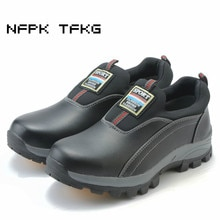 Chaussures de sécurité de travail en acier à la mode pour hommes sans lacet bottes doutillage en cuir véritable anti-crevaison chaussures de protection de grande taille