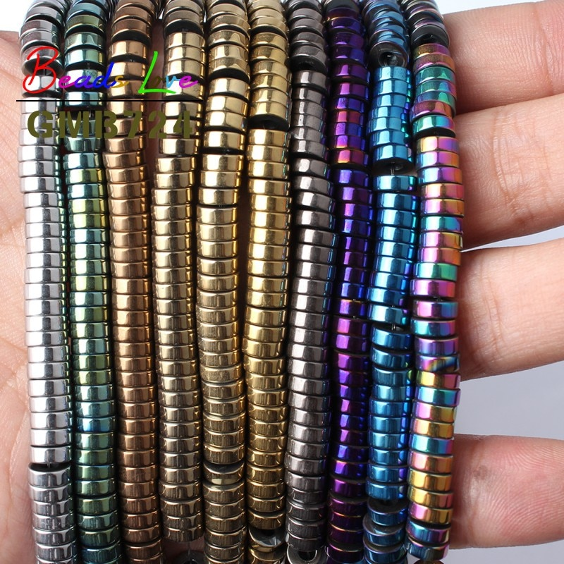 Pedra natural grande buraco multicolorido coluna forma hematite espaçador contas para fazer jóias 6x2mm diy colar pulseira 15 polegadas