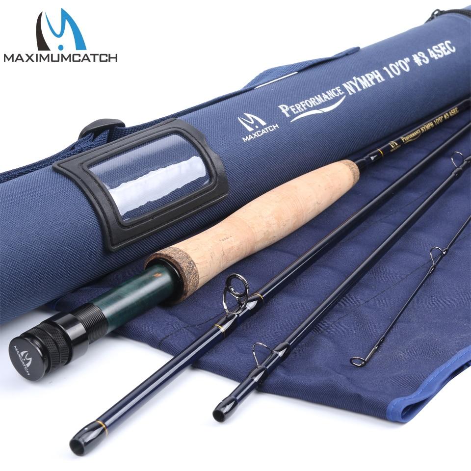 Maxcatch-صنارة صيد السمك, صنارة الصيد صنارة صيد الأسماك أفضل أداء خيط 2/3/4WT قوة 10/11FT مكونة من 4 قطع كربون IM10 جودة AAA + مقبض فليني للقضيب الرئيسي