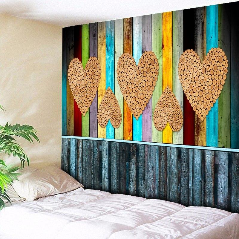 Arte de madera Hippie tapiz de pared bohemio Mandala colgante de pared sofá manta amor corazón decoración de la pared alfombra Boho tela de Mantel
