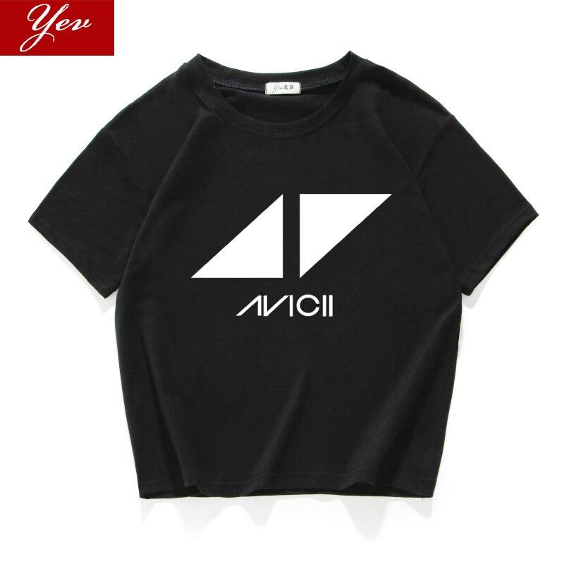 2019 nuevo DJ de los fans de Avicii verano Mujer Camiseta de cuello algodón hipster Camiseta corta de las mujeres de la calle desgaste de las mujeres ropa