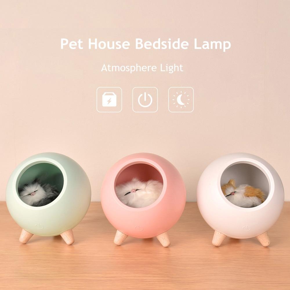 Gato de Casa de luz LED de la noche Sensor táctil regulable lámpara de mesa de USB recargable lámpara de noche para dormitorio para niños bebé