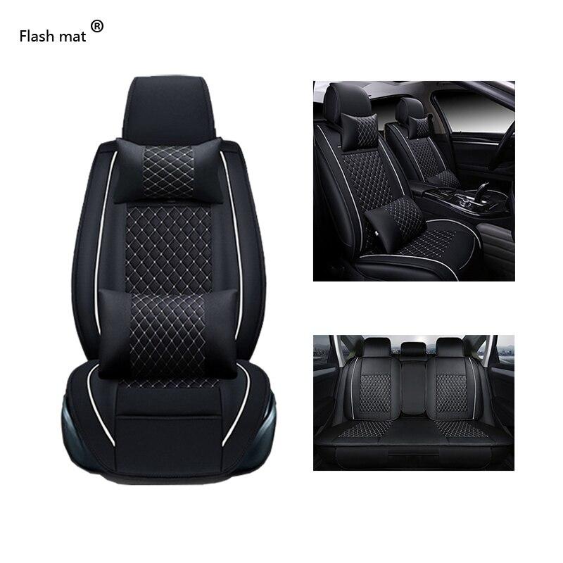 Fundas universales de cuero para asiento de coche Flash Mat para Mercedes Benz W203 W210 W211 AMG W204 C E S CLS CLK CLA SLK A20