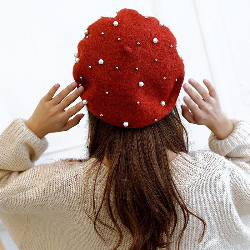Boina de lana caliente de Invierno para mujer, Boina para adultos, boina de lana para artista francés, gorro de esquí, gorra Casual sólida
