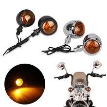 Clignotants lumineux de clignotant de moto   Indicateur Led noir, ambre, clignotants pour moteur de Scooter pour Harley 4 pièces
