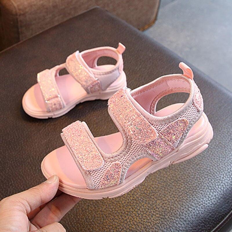 Nuevo, las niñas de verano blanco rosa lentejuelas sandalias de princesa para niñas de la escuela zapatos de sandalias 1 2 4 5 5 5 6 6 7 8 9 10 años